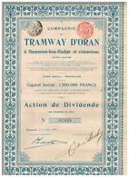 Titre Ancien - Compagnie Du Tramway D'Oran à Hammam-bou-Hadjar Et Extensions - Titre De 1907 - N°07855 - VF - Chemin De Fer & Tramway