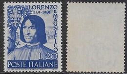Italia Italy 1949 Lorenzo Il Magnifico Sa N.609 Nuovo Integro MNH ** - 1946-60: Mint/hinged