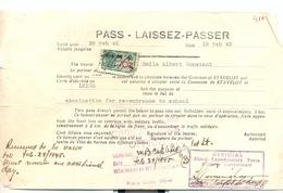 "2 Pass - Laissez-passer Du ""Allied Expeditionnary Force Military Covernment"" De Février 1945 Stavelot Liège - 1939-45"