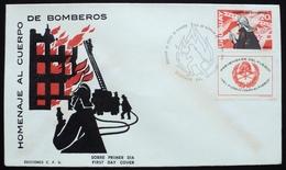 1966 URUGUAY FDC POSTMARK FIREMAN FIREMEN FIRE Pompier HELMET CASCO LADDER ESCALERA HACHA AX - Uruguay