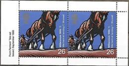 Grande-Bretagne Great Britain 1999 Millénaire Agriculture Mécanique Cheval, 1 Pair From Booklet Mnh - 1952-.... (Elizabeth II)