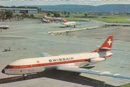 AEROPORTO-AEROPORT-AIRPORT-FLUGHAFEN-AERODROM-SWISSAIR-ZURICH-CARAVELLE CARTOLINA VERA FOTOGRAFIA VIAGGIATA IL 26-5-1961 - Aérodromes