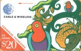 St. Kitts & Nevis - GPT, 212BCAC, Parrot, Animals (Fauna), Drawings, Birds, 20 EC$, 2,500ex, 1998, Used - Saint Kitts & Nevis