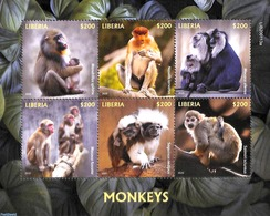 Liberia 2020 Monkeys 6v M/s, (Mint NH), Animals (others & Mixed) - Monkeys - Liberia