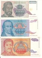 YOUGOSLAVIE 1994 VF P 140 A 142 ( 3 Billets Diff ) - Yougoslavie