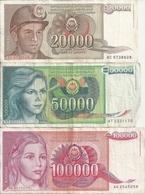YOUGOSLAVIE 1987-88-89 VF P 95 A 97 ( 3 Billets Diff ) - Yougoslavie