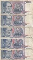 YOUGOSLAVIE 5000 DINARA 1985 VG+ P 93 ( 5 Billets ) - Yougoslavie