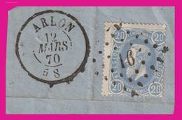 """COB N° 31 / Fragment - Belle Oblitération Double Cercle """"ARLON"""" + P N° 16 - 1883 Leopold II"""