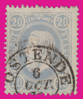 "COB N° 31- Oblitération Double Cercle ""OSTENDE"" - 1883 Leopold II."