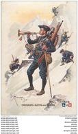 """WW Série L.V.C Par Léon Hingre 1915. Edition """" Le Gaulois """" Bergougnan. CHASSEURS ALPINS Avec Cannes - Regiments"""