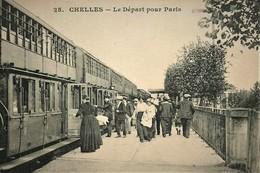 PHOTO AU DEPART D'UNE CPA CHELLES STATION STATIE GARE - Treinen