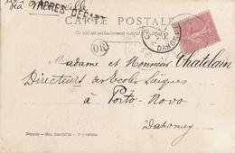 BOUCHES DU RHONE MARSEILLE GRIFFE MARITIME APRES DEPART CHARENTE CP 1905MOUTHIERS => DAHOMEY VIA MARSEILLE APRES LE DEP - 1877-1920: Periodo Semi Moderno