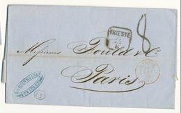 ENTREE LAC 1862 TRIESTE ITALIE T15 AUTRICHE 3 CULOZ 3 TAXE TAMPON 8 SUR LETTRE POUR FRANCE - 1849-1876: Période Classique