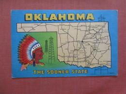 Map   Oklahoma > The Sooner State  =     Ref 3982 - Etats-Unis