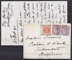 Grande-Bretagne - LAC Affr. 2 1/2d Càd WOODFORD-GREEN /OC 31 1891 Pour Château D'Oirbeek à TIRLEMONT (au Dos: Càd TIRLEM - Covers & Documents