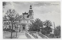 (RECTO / VERSO) MONTE CARLO EN 1904 - N° 717 - THEATRE ET TERRASSES - TIMBRE ET CACHET DE MONACO - CPA - Opernhaus & Theater