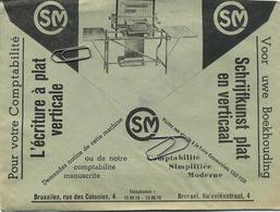 Old Envelope With Publicité: SM Innovation Comptabilité écriture Verticale : Verso : Fabriek Van Kleefbanden Antwerpen - Briefe