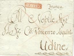 1828 -  Lettre De TREVISO  ( Voll. N°7 ) Rouge Pour Udine - 1. ...-1850 Prephilately