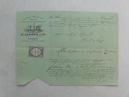 VIEUX PAPIERS - FRET : Agence Maritime - Transport à Forfait Pour Tous Les Points Du Globe - E. JAGOUR & Cie (Bordeaux) - 1800 – 1899