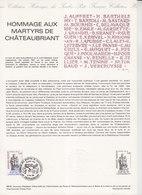 = Hommage Aux Martyrs De Châteaubriant Collection Historique Du Timbre Poste 1er Jour Châteaubriant 12.12.81 N°2177 - Documents Of Postal Services