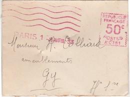 EMA Avril 1933 / 50 C / Paris / Petite Enveloppe - Marcophilie (Lettres)