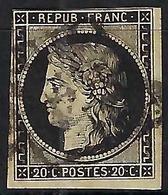 FRANCE:   Le Y&T 3 Sup. Obl. Grille 2 Belles Marges Au Filet En N Et O - 1849-1850 Cérès
