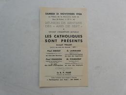 """VIEUX PAPIERS - PROSPECTUS : Réunion De Rentrée Des """"Amis De Sept"""" - Documentos Históricos"""