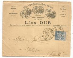 SAGE 15C LETTRE ENTETE  VINS SPIRITUEUX VIN BLANC LIBOURNE LEVALLOIS PERRET 1897 - Postmark Collection (Covers)