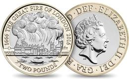 UK GREAT BRITAIN GRANDE BRETAGNE Großbritannien Gran Bretagna 2 POUNDS GREAT FIRE OF LONDON BIMETAL BI-METALLIC UNC 2016 - 2 Pounds