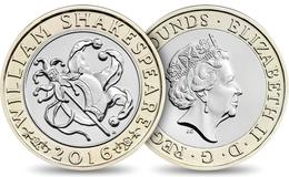 UK GREAT BRITAIN GRANDE BRETAGNE Großbritannien Gran Bretagna 2 POUNDS WILLIAM SHAKESPEARE COMEDY BIMETAL UNC 2016 - 2 Pounds