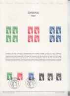 = Sabine De Gandon Collection Historique Du Timbre Poste 1e Jour Paris 1.9.81 N°2154 2155 2156 - Documents Of Postal Services