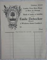 Facture BRASSERIE Du Tilleul BROUWERIJ Emile Debecker Woluwé Saint Lambert Bière Bier Faro Brune Blonde - Non Classés