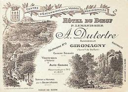 Hôtel Du Boeuf - Giromagny (Territoire De Belfort) - Tarjetas De Visita