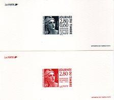 """"""" JOURNEE DU TIMBRE : 50 ANS DE LA MARIANNE DE GANDON """" Sur 2 Gravures Officielles De 1995  N° YT 2933 2934. Parf état. - Documents Of Postal Services"""