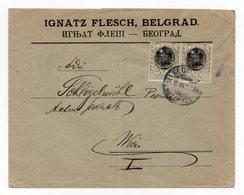 1904 SERBIA,SERBIA,JUDAICA,BELGRADE TO VIENNA,3 X15 PARA,IGNATZ FLESCH,COMPANY LETTERHEAD COVER - Serbia