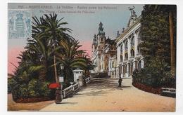(RECTO / VERSO) MONTE CARLO - LE THEATRE - CASINO ENTRE LES PALMIERS - BEAU TIMBRE DE MONACO - CPA COULEUR - Opernhaus & Theater