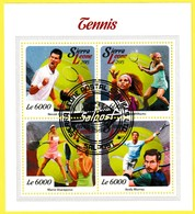 Bloc Feuillet Oblitéré - Tennis Novak Djokovic Serena Williams Maria Sharapova Andy Murray - Sierra Leone 2015 - Sierra Leona (1961-...)