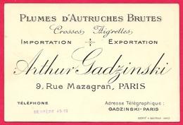 """Carte De Visite Commerciale - ARTHUR GADZINSKI """"Plumes D'Autruches Brutes"""" Importation Exportation 75010 Paris - Visiting Cards"""