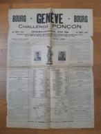 BOURG-GENEVE-BOURG . Challenge Poinçon . 19 Août 1934 . Cyclisme. Ain . Bourg-en-Bresse . - Programas