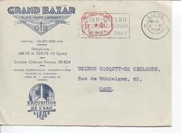 REF843/ C.méc  S/CP Grand Bazar/Exposition Eau Liège C.Liège 3/11/1938 + Flamme Dover - Ostend > Gand - Belgien