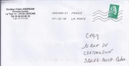 MARIANNE L'ENGAGEE N° 5252 ADH. Sans Phosphore SUR LETTRE DE 2018 - 2018-... Marianne L'Engagée