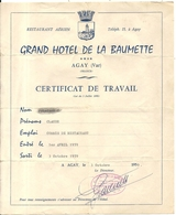 RESTAURANT AERIEN . GD HOTEL DE LA BAUMETTE . AGAY . CERTIFICAT DE TRAVAIL - Reclame