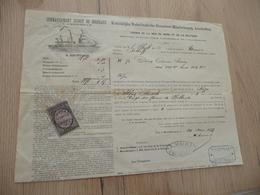 Connaissement Koninklijke Nerderlandxche Stoomboot Amsterdam Ligne Mer Du Nor Baltique Bordeaux Pour Riga Savon 1879 - Verkehr & Transport