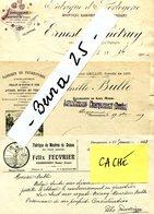 DOUBS CHARQUEMONT C BULLE.E BINETRUY. F FEUVRIER Montres Horlogerie Fournitures Cylindres Rhabillages 3 Factures - France