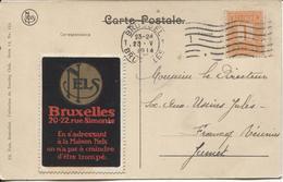 REF845/ TP 108 S/CP Congo C.Bruxelles 23/5/1914 + Vignette De La Société NELS > Jumet - 1912 Pellens