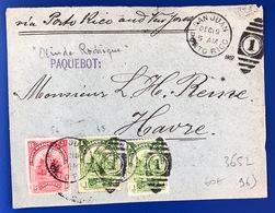 1902 French Line Via Porto Rico Et New York Vers Le Havre Paquebot Olinde Rodrigues - 1801-1848: Voorlopers XIX