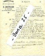 DOUBS CHARQUEMONT LE REFRAIN Document S.CHATELAIN Scierie Avec La Société De Construction..Début 1920 - France
