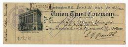 21.06.1922. USA UNION TRUST CO,CHEQUE,ENDORSED IN LJUBLJANA,SLOVENIA 23.08.1923,REVENUE STAMP - United States