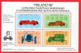 AUTO ITALIANE D'EPOCA -FOGLIETTO ERINOFILO CON ALFA ROMEO ISOTTA FRASCHINI LANCIA FIAT - Autos
