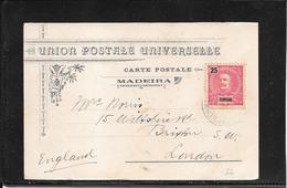 Madeira,Funchal 1907- Postcard To London  ( Ref 3056) - Funchal